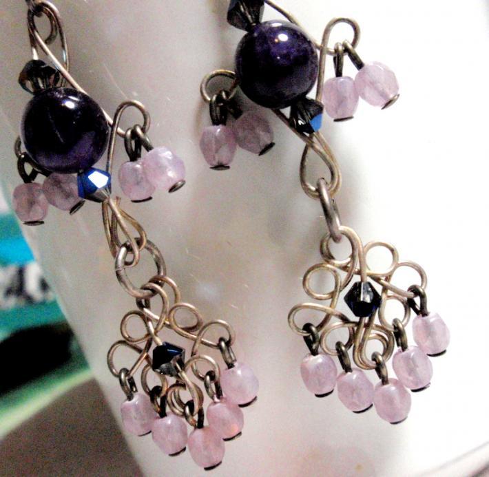 Grape Sundae for Your Lobes Earrings Light and Dark Amethyst on Sterling Silver