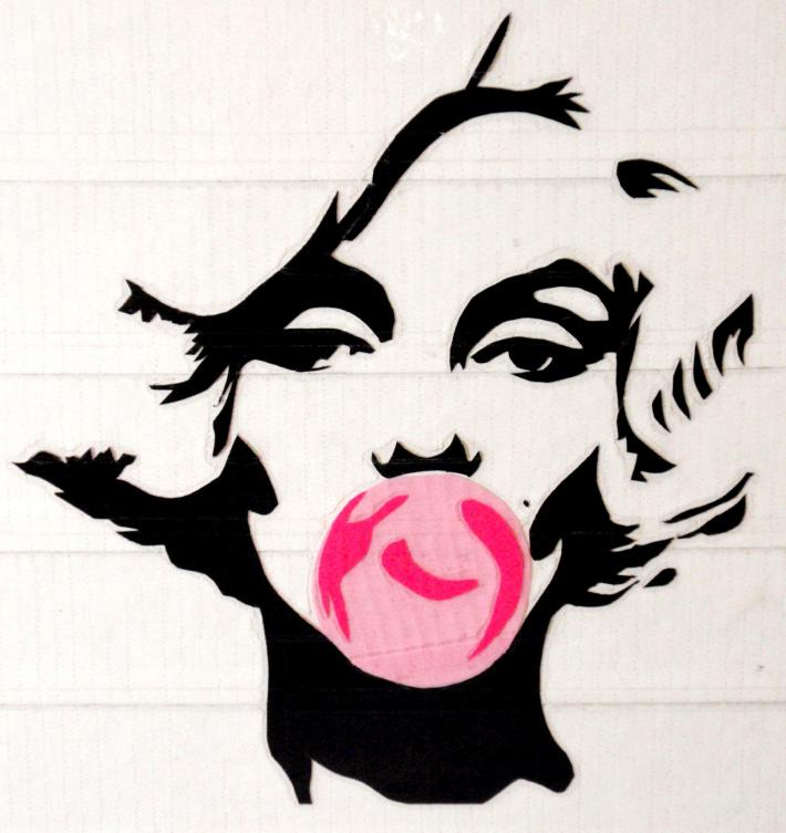 Duck Tape Art Painting Duct Tape Painting Art Marylin Monroe Blowing a Bubble Andy Warhol Style