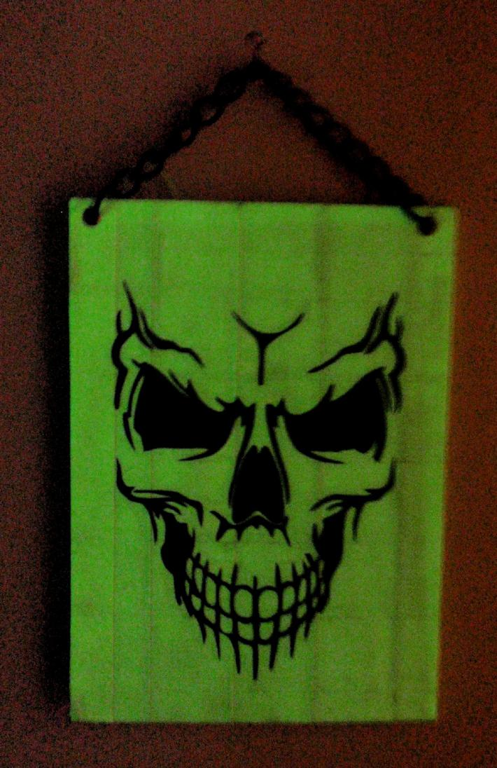 Duck Tape Art Painting Duct Tape Painting Art Glow in the Dark Spooky Skull Skeleton