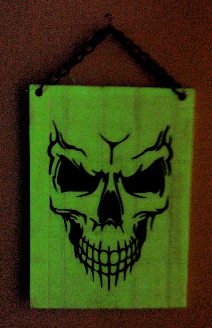 Duck Tape Art Painting Duct Tape Painting Art Glow in the Dark Spooky Skull Skeleton