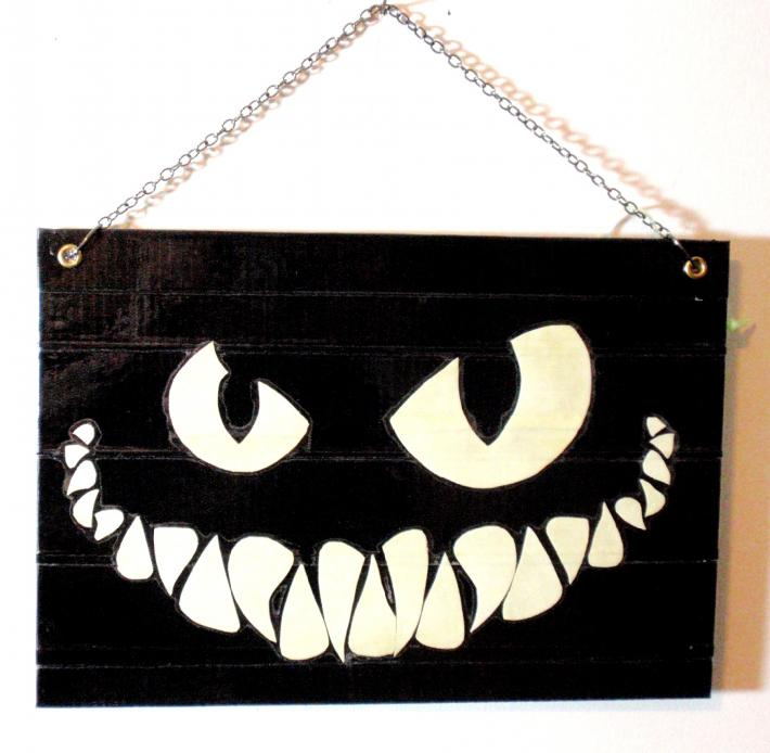 Duck Tape Art Painting Duct Tape Painting Art Glow in the Dark Cheshire Cat Grin Evil Spooky