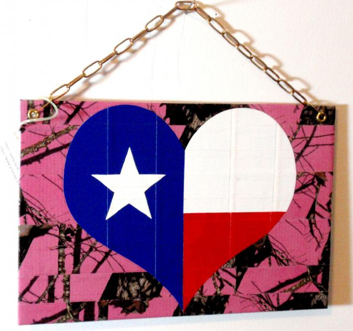 Duck Tape Art Painting Duct Tape Painting Art Girly Camo Texas Pride Heart Perfect for a Woman Cave