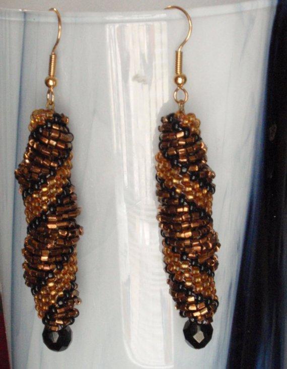 Vintage Evening Spiral Earrings Bead Weave Reclaimed Bronze Metalic Beads