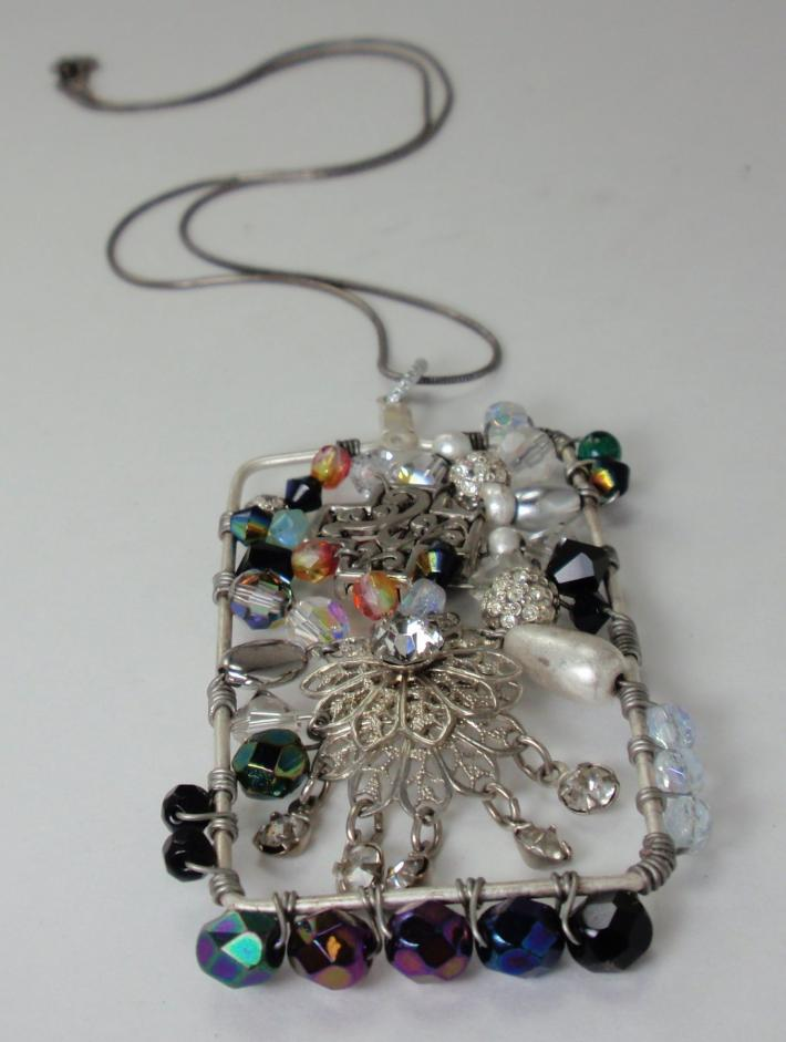 Wire Wrapped Pendant Suspension Series Vintage Rhinestones Reclaimed Recycled Upcycled Gorgeous