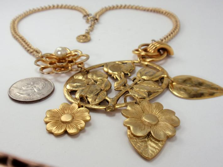 Vintage Charm Necklace Golden Garden Brooch and Earring Flower and Leaf Reclaimed Bib Statement Necklace