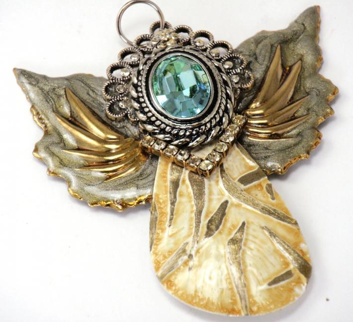 Abstract Angel Collection Aquamarine Rhinestone Assemblage Wearable Art Pendant or Ornament DISP