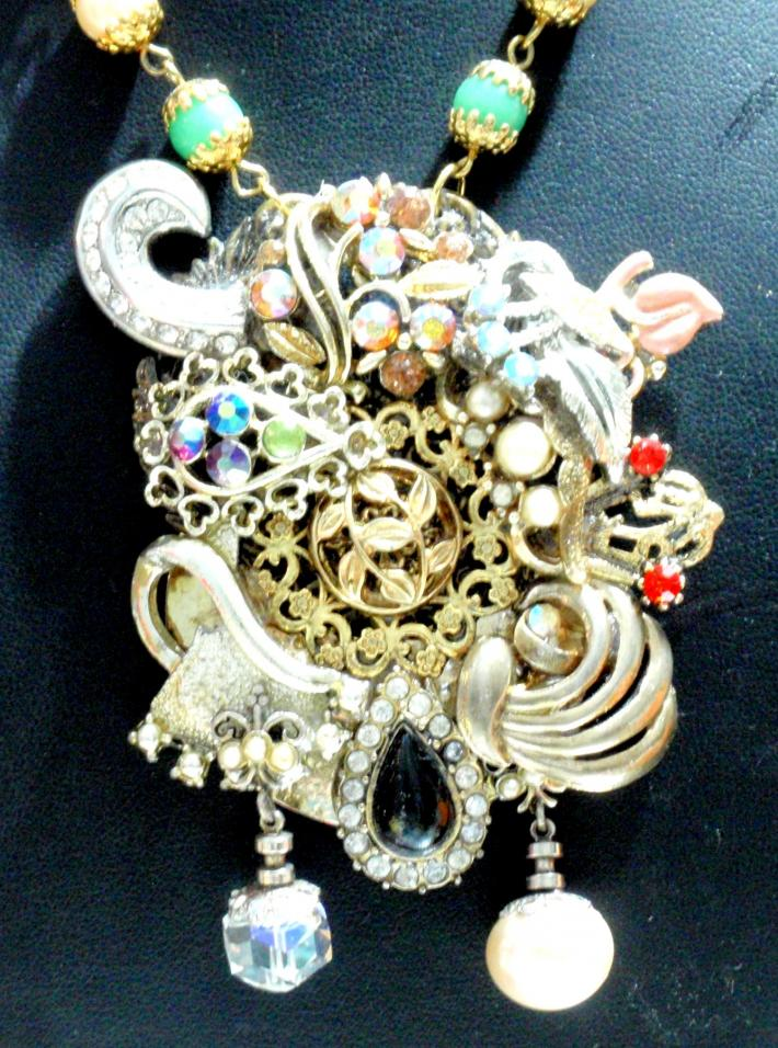 Vintage Assemblage Necklace Mixed Media Wearable Art Sultan of Swing E2