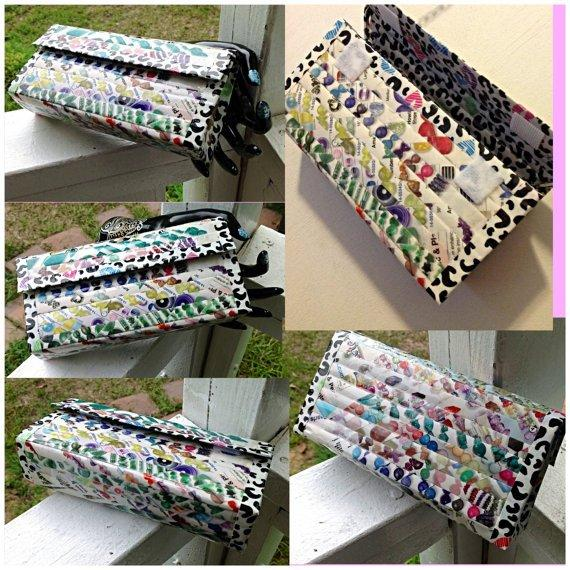 Eco Friendly Reclaimed Magazine and Duck Tape Purse or Custom Order Cheetah Kisses and Gemstones Recycled Upcycled Reclaimed HC