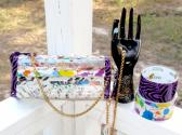 Eco Friendly Reclaimed Magazine and Duck Tape Purse or Custom Order Crystal Paint Spatter and Purple Zebra