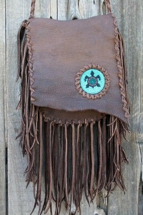 Bohemian gypsy handbag Fringed leather handbag with beaded turtle totem