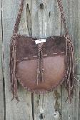 Handmade leather tote Fringed leather gypsy handbag