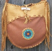 Beaded leather tote Beaded sunflower mandala