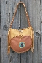Beaded leather tote