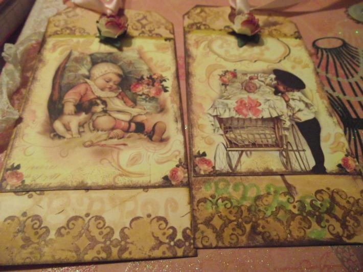 Baby Decorated Gift Tags  Pink Rose  Satin Pink Ribbon  Hand made