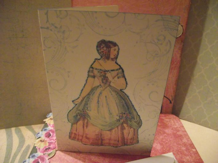Jane Austen  Card  With Envelope Decorated With Glitter Handstamped Evenlope
