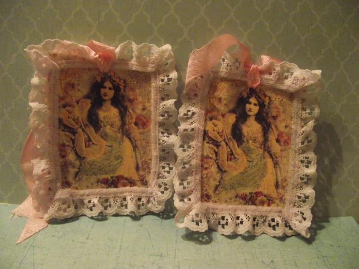 Decorated  Bridal Gift Tag Ruffle Lace Pink Ribbon Rose Heart Finding