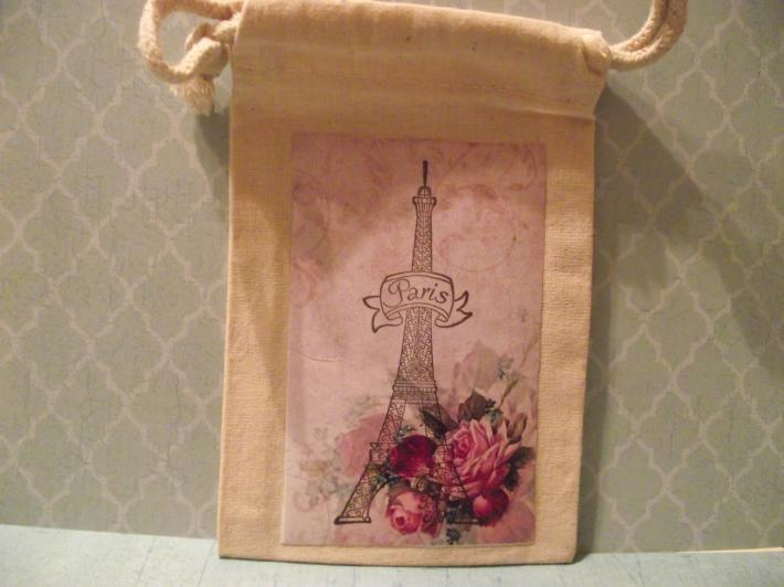 Muslin Drawstring Bag Eiffel Tower Pink Roses Word Paris