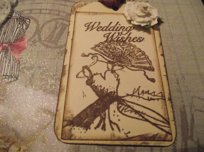 Wedding Wishtags wish tree distress white rose ribbon Tie