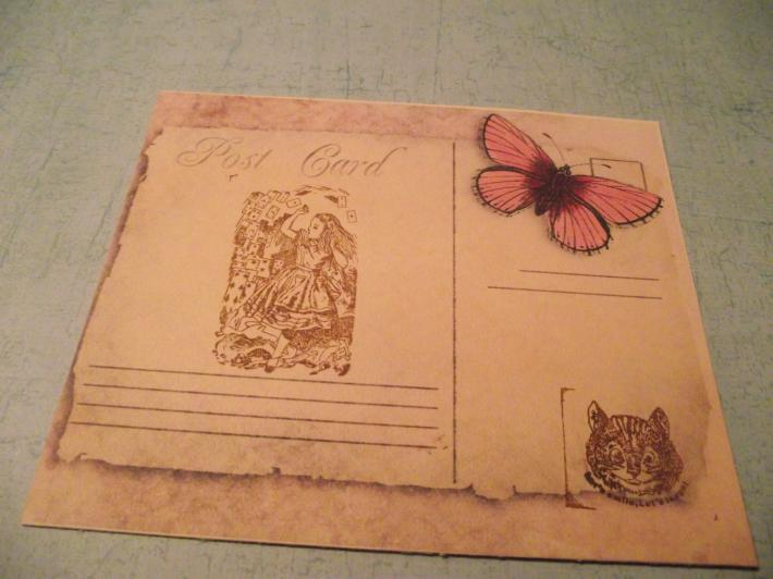 Butterfly Post With Handstamped Alice In Wonderland  Card Rose Color Distress Frenc h Card