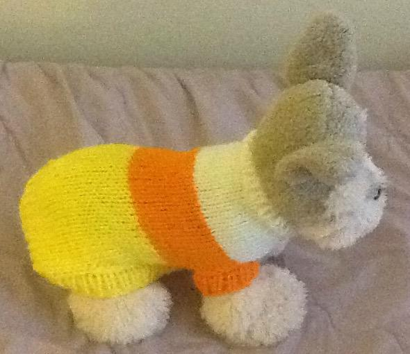 Petite candy corn dog sweater