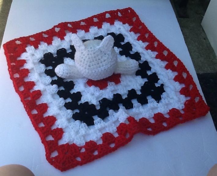 Kitten lovie blanket Crocheted kitten security blanket