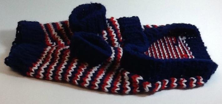 Red white and blue Stripped petite dog sweater