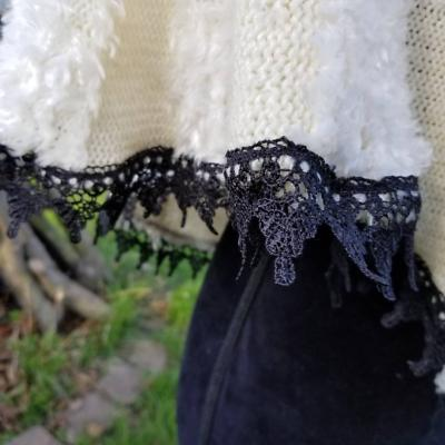 White Lacey Capelet with Black Lace Trim