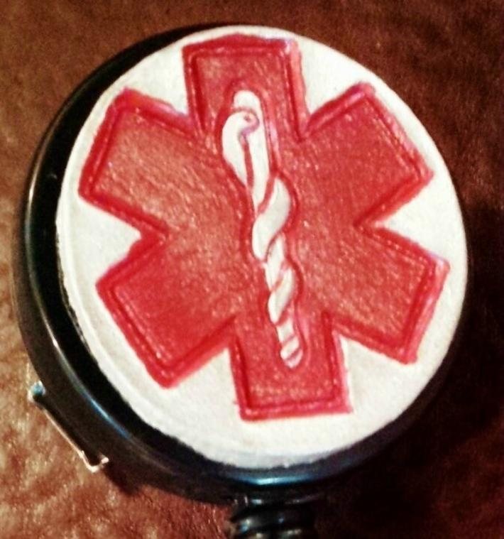 Hand Painted EMT Retractable Leather Covered ID Badge Holder