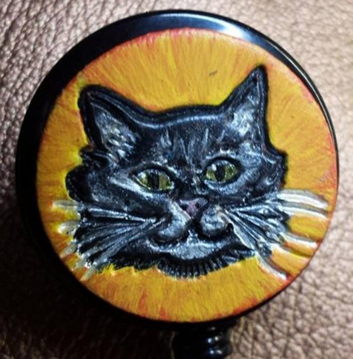 Hand Painted Leather Halloween Kitty Retractable ID Badge Holder