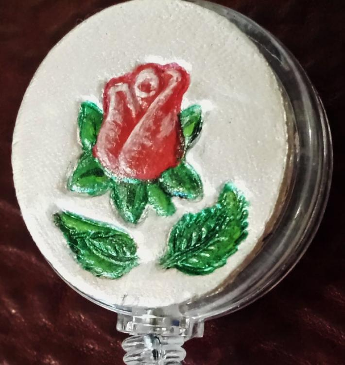 Hand Painted Red Rose Bud on White Retractable Leather Covered ID Badge Holder