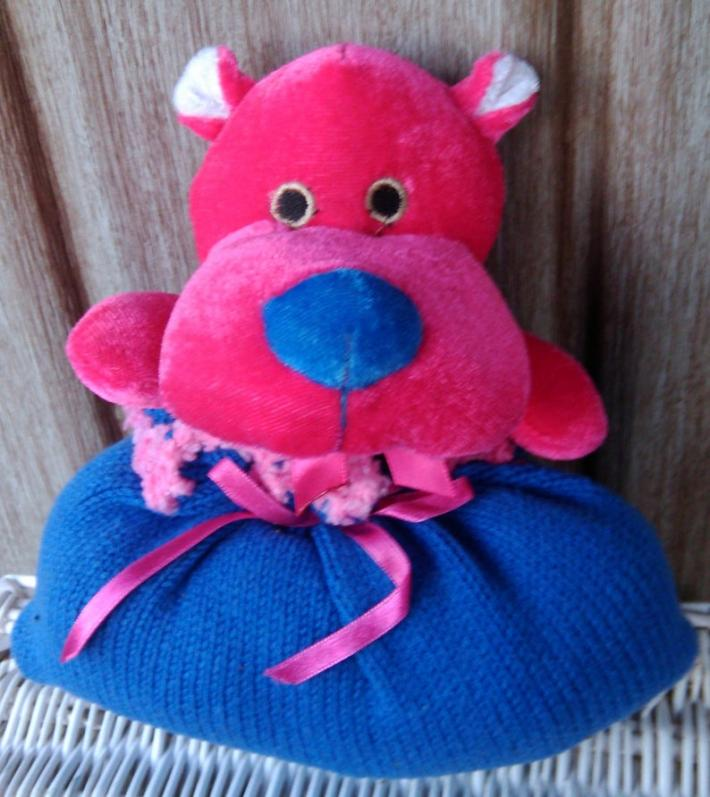 Plush Pink Hippo with Blue nose Lovander Baby