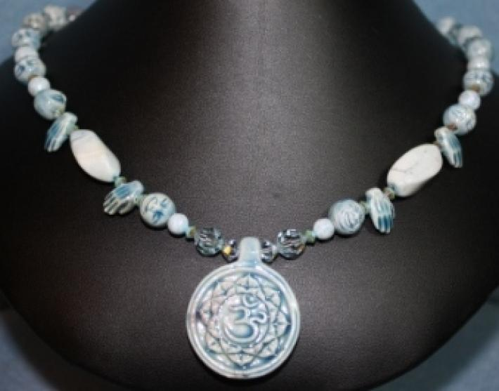 Pale Blue Head and Hands Ceramic Beads and Swarovski Crystals