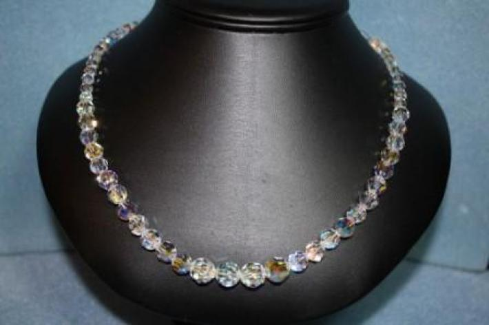 Swarovski Crystal Necklace with Round AB Crystals