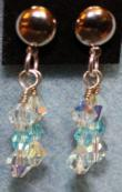 Silver Pale Blue Bicone Crystal Earrings