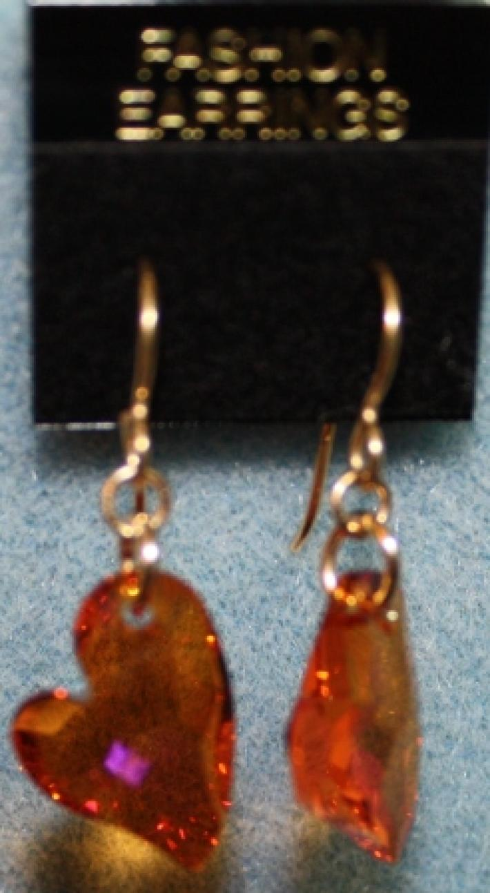 Red Magma Devoted 2 U Swarovksi Crystal Heart Earrings