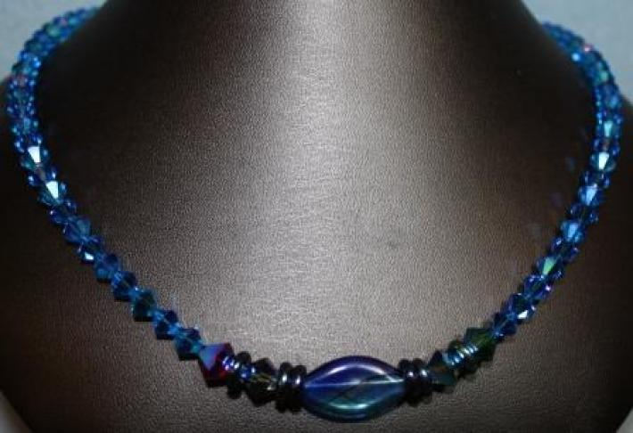 Aqua Bicone Swarovski Crystal Necklace with Blue Blown Glass Oval Center