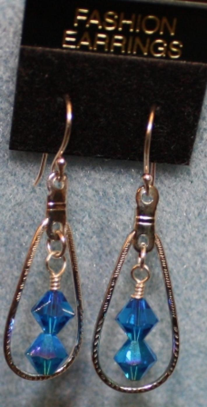 Silver Aqua Blue Bicone Crystal Earrings