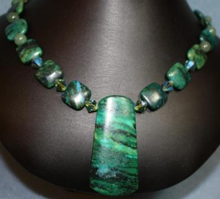 Green Malachite and Adventurine beaded Necklace