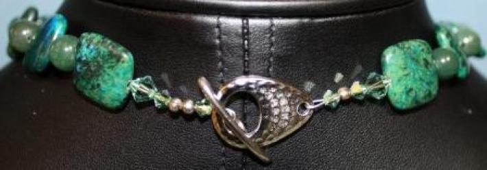 Green Malachite and Adventurine beaded Necklace
