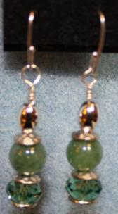 Dark Green Adventurine and Crystal Earrings