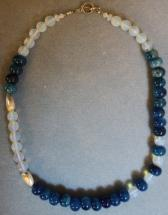 24 inch Denim Blue Stone Necklace with Opal Round Crystals