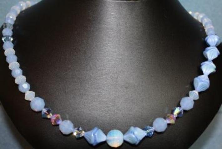 Sky Blue Opal Swarovski Crystal Necklace