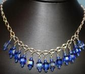 Blue Swarovski Crystal Cube Necklace on Silver Chain
