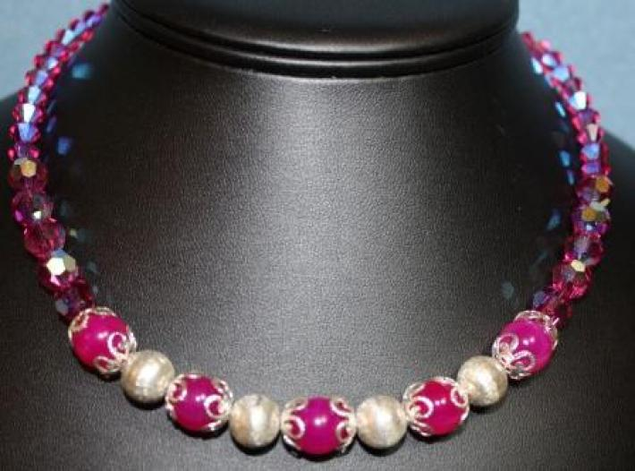 Fuchsia and Silver Necklace