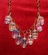 Clear AB Cube Swarovski Crystal Necklace on Gold Chain