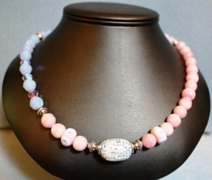 Sky Blue and Pink Crystal and Stone Necklace