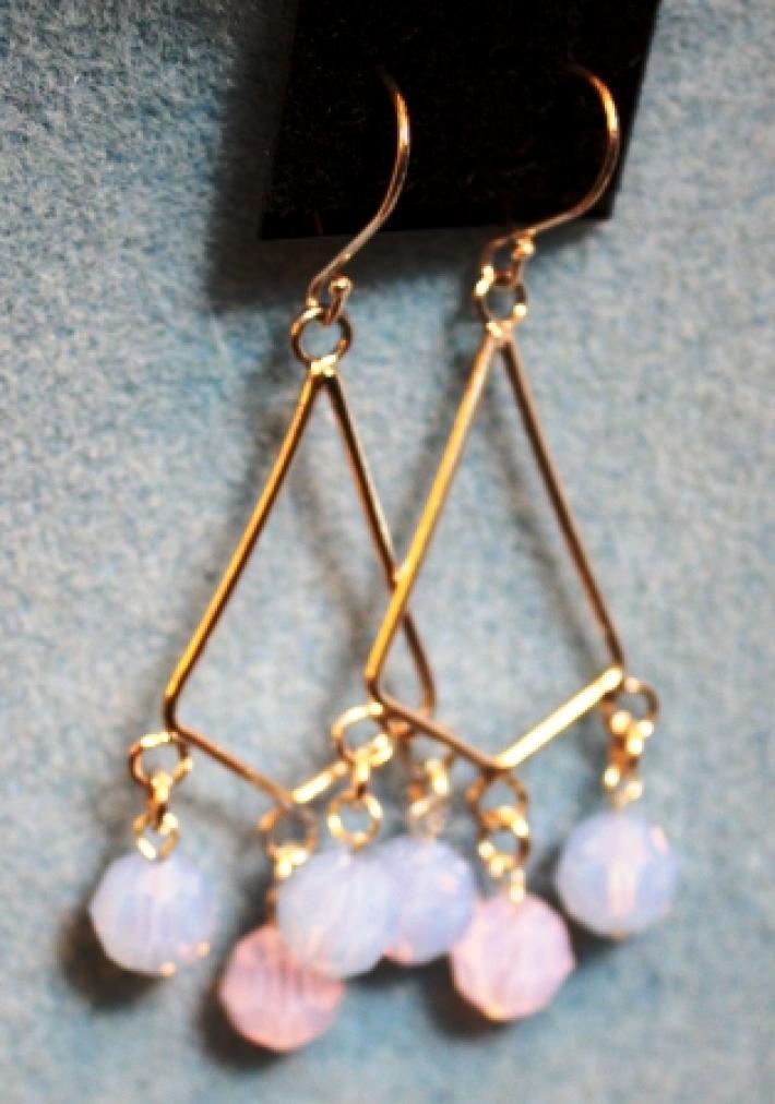 Pink and Blue Swarovski Crystal Dangle Earrings