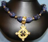 Chunk nugget blue beads with gold pendant
