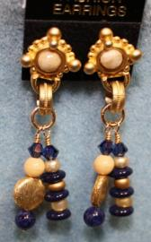 Gold Blue and Tan Post with Dangle Earrings