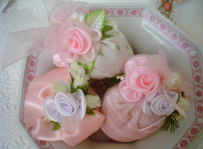 set of 3 Strawberry lavender sachet lace roses beads 1of a kind